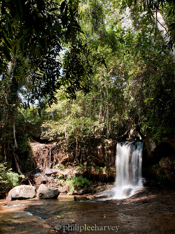 A waterfall of the Stung Kbal Spean river in the Kulen Hills, near the site of Kbal Spean in Cambodia