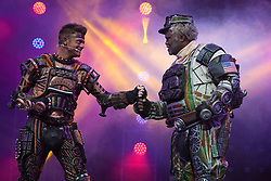 "© Licensed to London News Pictures. 11/05/2012. London, England. Kristofer Harding as Rusty and Lothair Eaton as Poppa. Andrew Lloyd Webber's rock musical ""Starlight Express"" opens at the New Wimbledon Theatre with a new cast before embarking on a UK tour. Choreography by Arlene Phillips. With Kristofer Harding as Rusty, Mykal Rand as Electra, Lothair Eaton as Poppa, Amanda Coutts as Pearl, Ruthie Stephens as Dinah, Kelsey Cobban as Duffy, Camilla Hardy as Buffy and Jamie Capewell as Greaseball. Photo credit: Bettina Strenske/LNP"