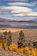 Fall Color, McGee Canyon and Lenticular Clouds over Crowley Lake, Inyo National Forest, Mono County, Caifornia