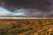 Rainbow after thunderstorm at Painted Canyon in Theodore Roosevelt National Park, North Dakota, USA