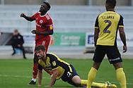Accrington Stanley Forward, Offrande Zanzala (9) misses during the EFL Sky Bet League 1 match between Accrington Stanley and Scunthorpe United at the Fraser Eagle Stadium, Accrington, England on 1 September 2018.