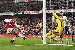18 November 2017 London : Premier League Football : Arsenal v Tottenham Hotspur - Alexis Sanchez scores the second goal for Arsenal.<br /> (photo by Mark Leech)