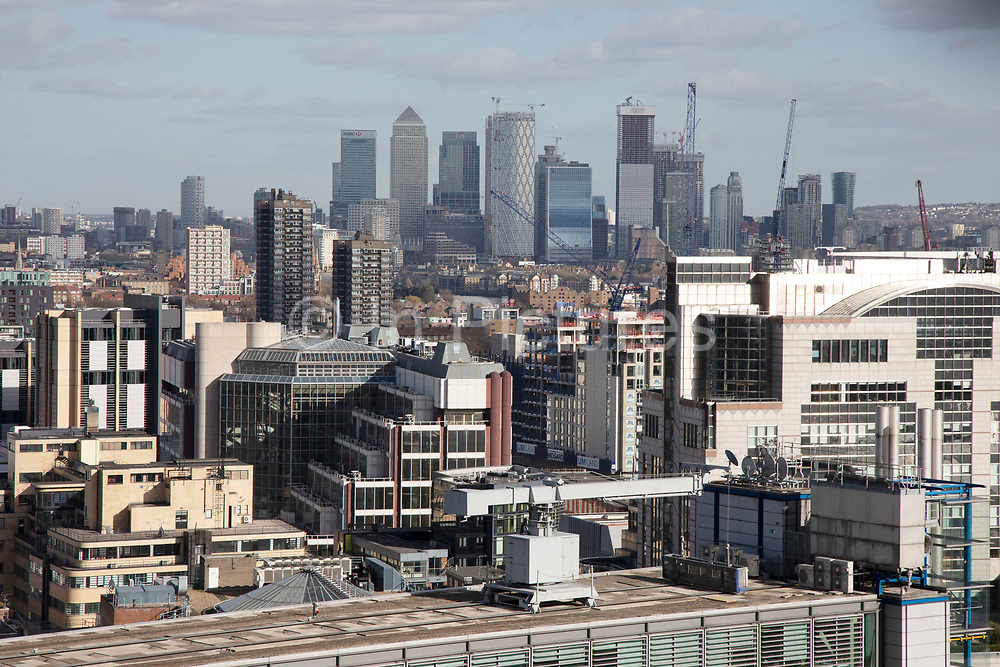 Views of the cityscape skyline looking towards the financial district of Canary Wharf from The Garden at 120, theCity of London's largest rooftop public space, located atop the newly opened Fen Court office building at 120 Fenchurch Street in London, United Kingdom. At 15-storeys up, the viewing platform offers exceptional 360-degree views of the City and greater London, and is free for members of the public to visit.