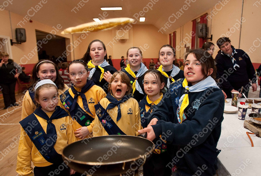 Kiah Baker and friends from the Ibrickane Girl Guides and Brownies cooking pancakes at Mullagh hall for pancake Tuesday in aid of the National Childrens Hospital in Tallagh.Photograph by Eamon Ward