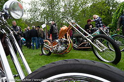 Rams MC (Norway) Fredrik Von Der Lippe's S<br /> &S Knucklehead loop frame chopper in the Twin Club's annual Custom Bike Show in Norrtälje, Sweden. Saturday, June 1, 2019. Photography ©2019 Michael Lichter.