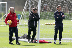 Rangers manager Graeme Murty with coaches Jimmy Nichol (left) and Jonatan Johansson during the training session at Murray Park training ground, Glasgow.