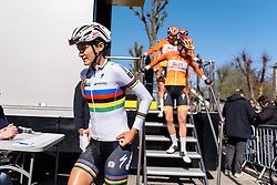 World Champion, Lizzie Armitstead, completes the sign in protocols with her Boels Dolmans teammates - Flèche Wallonne Femmes - a 137km road race from starting and finishing in Huy on April 20, 2016 in Liege, Belgium.