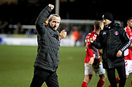 Charlton manager Lee Bowyer celebrates with the fans after the EFL Sky Bet League 1 match between Peterborough United and Charlton Athletic at London Road, Peterborough, England on 26 January 2019.