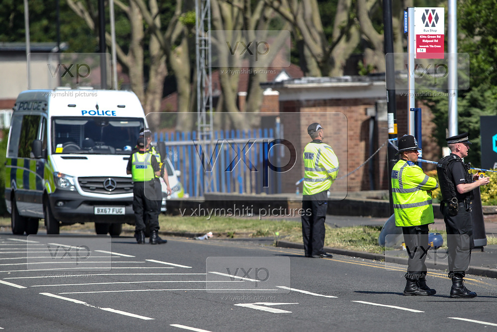 Birmingham, United Kingdom, June 15, 2021: Police are seen at the site as two activists of the 'Palestine Action' activists group continues to occupy an American industrial factory known as Arconic in Birmingham for the 2nd day on Tuesday, June 15, 2021. This is a protest against the company who they say 'provided cladding for Grenfell Tower' and 'materials for Israel's fighter jets.' (Photo by Vudi Xhymshiti)