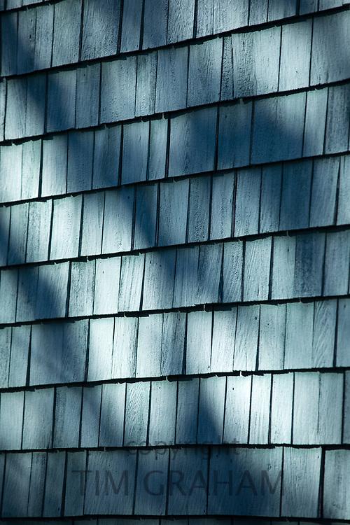 Traditional painted cedar shingle on house in Newport, Rhode Island, USA