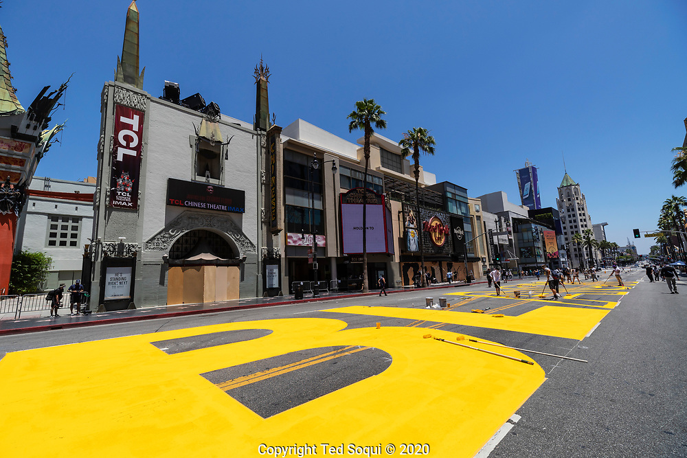 Preparations for the All Black Lives Matter march in Hollywood. All Black Lives Matter was temporarily painted on Hollywood Blvd. for the march.<br /> 6/13/202 Hollywood, CA USA<br /> (Photo by Ted Soqui)
