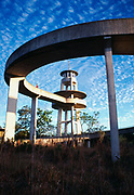 Shark Valley Observation Tower with Altocumulus Undulatus Clouds above, Shark Valley, Everglades National Park, Florida.