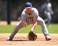 CHICAGO - AUGUST 01:  Pete Alonso #20 of the New York Mets fields against the Chicago White Sox August 1, 2019 at Guaranteed Rate Field in Chicago, Illinois.  (Photo by Ron Vesely)  Subject:   Pete Alonso