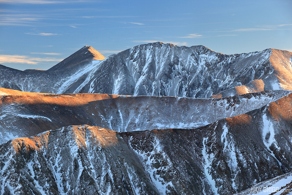 Mount Shavano and Tabeguache Peak catches the last light of December day.