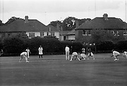 18/07/1970<br /> 07/18/1970<br /> 18 July 1970<br /> Cricket: Clontarf 1st XI v Old Belvedere, Leinster Senior Cup Final at Clontarf Cricket Club, Castle Avenue, Dublin. Frank O'Hanlon (centre), Old Belvedere, batting. Wicket keeper is Fergus Carroll, Clontarf Captain.