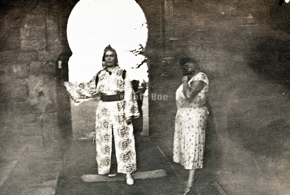 western tourists one dressed up in Moroccan traditional clothing Morocco Rabat 1930s