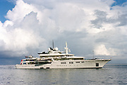 Paul Allen's 302' (92m) Superyacht Tatoosh off the coast of Wolf Island in the Galapagos has two helicopter decks, a 42 sailboat as a tender.
