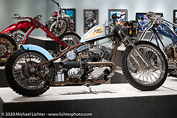 "Bill Dodge built Blings Motard in 2000 with one of the first of two 93 ci S&S generator Shovelhead engines (the other going to Johnny Chop) that were produced. It was also the first of many 23"" front wheel bikes Bill went on to make. On display here in the Heavy Mettle - Motorcycles and Art with Moxie exhibition at the Sturgis Buffalo Chip. This is the 2020 iteration of the annual Motorcycles as Art series curated and produced by Michael Lichter. Sturgis, SD, USA. Friday, August 7, 2020. Photography ©2020 Michael Lichter."
