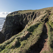 Path above The Door of the Heugh, Balcary Point, Dumfries and Galloway, Scotland.