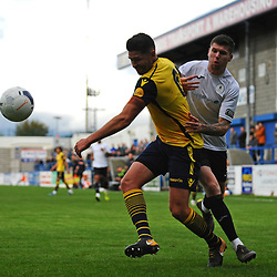 TELFORD COPYRIGHT MIKE SHERIDAN Matt Stenson of Telford (on loan from Solihull Moors) battles for the ball with Scott Garner during the Vanarama National League Conference North fixture between AFC Telford United and Guiseley on Saturday, October 19, 2019.<br /> <br /> Picture credit: Mike Sheridan/Ultrapress<br /> <br /> MS201920-026