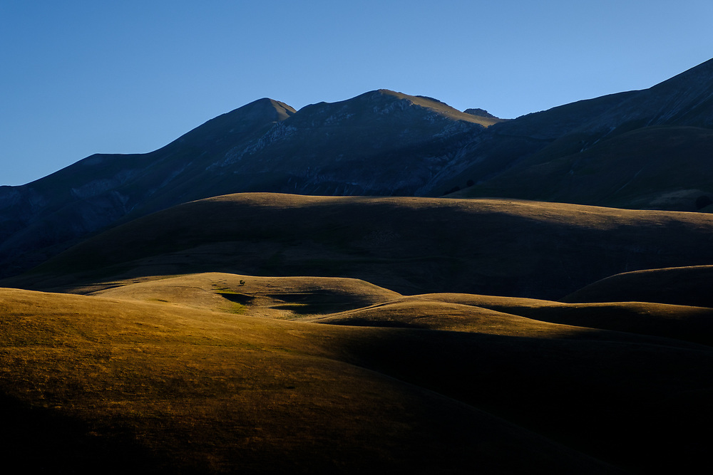 The Sibillini mountains in the morning light. Umbria, Italy