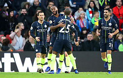 Manchester City's Raheem Sterling (second left) celebrates after Southampton's James Ward-Prowse (not in frame) scores an own goal during the Premier League match at St Mary's Stadium, Southampton.