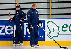 Matjaz Kopitar, head coach and Nik Zupancic, assistant coach during practice session of Slovenian National Ice Hockey team first time in Arena Stozice before 2012 IIHF World Championship DIV I Group A in Slovenia, on April 13, 2012, in Arena Stozice, Ljubljana, Slovenia. (Photo by Vid Ponikvar / Sportida.com)
