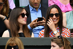 © Licensed to London News Pictures. 04/07/2016. PIPPA MIDDLETON watches tennis on the centre court on the seventh day of the WIMBLEDON Lawn Tennis Championships. London, UK. Photo credit: Ray Tang/LNP