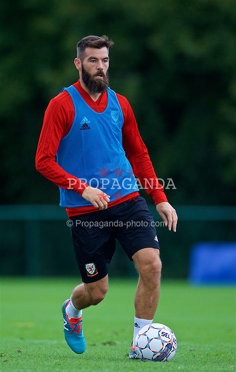 CARDIFF, WALES - Friday, September 7, 2018: Wales' Joe Ledley during a training session at the Vale Resort ahead of the UEFA Nations League Group Stage League B Group 4 match between Denmark and Wales. (Pic by David Rawcliffe/Propaganda)