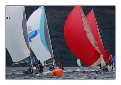 Brewin Dolphin Scottish Series 2010, Tarbert Loch Fyne - Yachting..Day one stated late but resulted in good conditions on Loch Fyne..Class 2 fleet downwind with Absolutely, Bateluer, Eos and Grand Cru...
