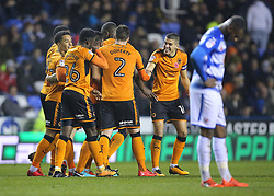 Wolves celebrate after Matt Doherty scores his side's second goal of the game during the Sky Bet Championship match at the Madejski Stadium, Reading.