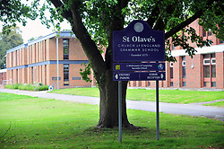 © Licensed to London News Pictures.30/08/2017.<br /> Top grammar school St Olave's in Orpington has been accused of illegally throwing out sixth form students who failed to get top grades ahead of their final A Level year.<br /> Photo credit: Grant Falvey/LNP