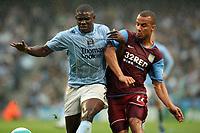 Photo: Paul Greenwood.<br />Manchester City v Aston Villa. The FA Barclays Premiership. 16/09/2007.<br />Man City's Micah Richards, (L) battles withGabriel Agbonlahor
