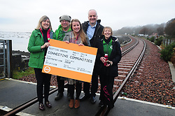 Green Party, Train Line Petition, 27-11-2019<br /> <br /> Scottish Greens launch train line petition. Parliamentary co-leader Alison Johnstone and Mid Scotland and Fife MSP Mark Ruskell joined Dunfermline and West Fife candidate Mags Hall in launching the campaign to re-open the train line which would link Dunfermline to Alloa, Glasgow and the west.Seen with local campaigners, David Hansen and Fiona McOwan<br /> <br /> Alison Johnstone in green<br /> Mags Hall in grey<br /> Mike Ruskell MSP<br /> <br /> (c) David Wardle | Edinburgh Elite media