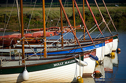 Sailing boats, Morston Quay, North Norfolk Coast, England, UK.