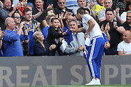 John Terry, the Chelsea captain giving a shirt to a young Chelsea fan during a walk around the pitch after full time. Barclays Premier league match, Chelsea v Leicester city at Stamford Bridge in London on Sunday 15th May 2016.<br /> pic by John Patrick Fletcher, Andrew Orchard sports photography.