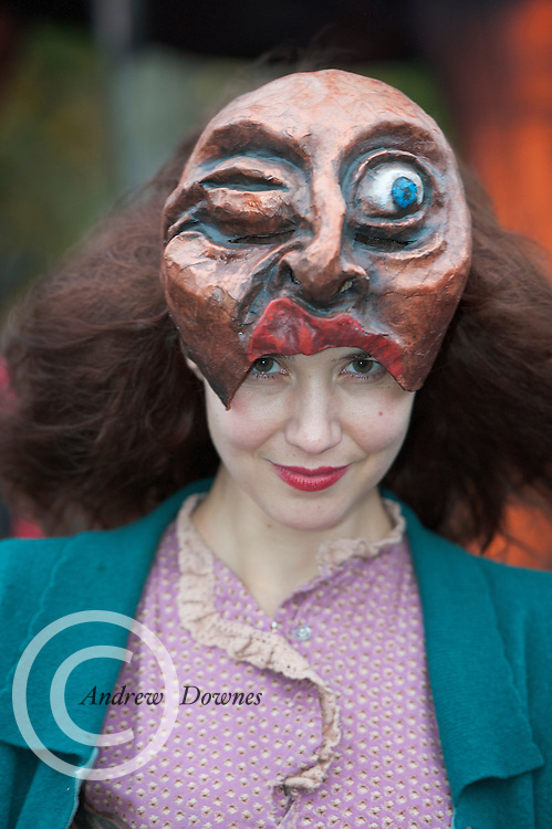 """26/10/2014 Singer Songwriter Lisa Hannigan who took part the Macnas parade Symphony for the restless"""" took over Galway for a spectacular event that scared and thrilled young and old. Photo:Andrew Downes"""