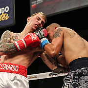 KISSIMMEE, FL - MARCH 05: Pedro Salome gets punched by John Leonardo during the Boxeo Telemundo All Star Boxing event at Osceola Heritage Park on March 5, 2021 in Kissimmee, Florida. (Photo by Alex Menendez/Getty Images) *** Local Caption *** Pedro Salome; John Leonardo
