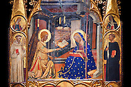 Gothic painted Panel Altarpiece of the Annunciation  by the Circle of Ferrer and Arnau Bassa. Tempera and gold leaf on wood. Circa 1347-1360. 282.9 x 151 x 11 cm. The origin of this panel has traditionally been associated with the collegiate church of Sant Vicenç de Cardona (Bages). National Museum of Catalan Art, Barcelona, Spain, inv no: 015855-000 .<br /> <br /> If you prefer you can also buy from our ALAMY PHOTO LIBRARY  Collection visit : https://www.alamy.com/portfolio/paul-williams-funkystock/gothic-art-antiquities.html  Type -     MANAC    - into the LOWER SEARCH WITHIN GALLERY box. Refine search by adding background colour, place, museum etc<br /> <br /> Visit our MEDIEVAL GOTHIC ART PHOTO COLLECTIONS for more   photos  to download or buy as prints https://funkystock.photoshelter.com/gallery-collection/Medieval-Gothic-Art-Antiquities-Historic-Sites-Pictures-Images-of/C0000gZ8POl_DCqE