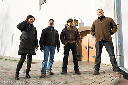 Ela, Jonathan, Vasily and Dmitry in Suzdal, Russia, an 11th century Golden Ring town. Tuesday April 25, 2017. Photography ©2017 Michael Lichter.