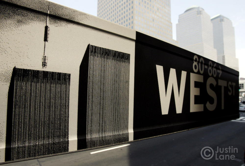 5th anniversary of World Trade Center terrorist attack project. Images of the World Trade Center towers.