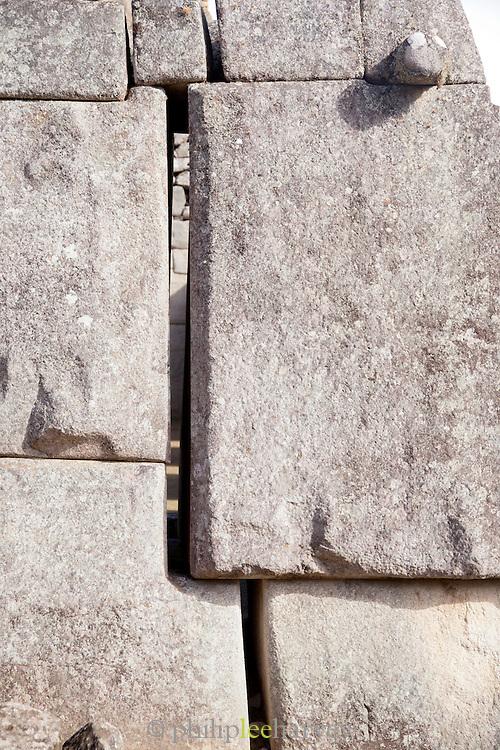 Example of the precision of the stone masons work at Machu Picchu, Cusco Region, Urubamba Province, Machupicchu District in Peru, South America