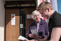 Defendant outside court Sheffield Magistrates' Court