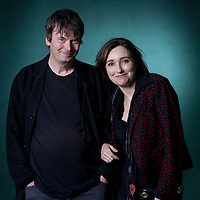 """Ian Rankin with Viviane Katrina Louise """"Viv"""" Albertine,  the British singer and songwriter, best known as the guitarist for the English punk group The Slits, at the Edinburgh International Book Festival 2015. Edinburgh, Scotland. 23rd August 2015 <br /> Photograph by Gary Doak/Writer Pictures<br /> <br /> WORLD RIGHTS"""