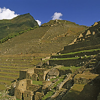 Terraces and ancient buildings at Machu Picchu.