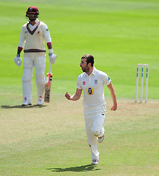 Mark Wood of Durham celebrates the wicket of Roelof Van Der Merwe - Mandatory by-line: Alex Davidson/JMP - 04/08/2016 - CRICKET - The Cooper Associates County Ground - Taunton, United Kingdom - Somerset v Durham - County Championship