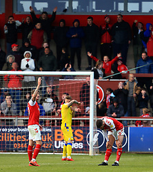 Fleetwood Town fans cheer on their team as Ched Evans of Fleetwood Town reacts after missing a chance - Mandatory by-line: Matt McNulty/JMP - 27/04/2019 - FOOTBALL - Highbury Stadium - Fleetwood, England - Fleetwood Town v Bristol Rovers - Sky Bet League One