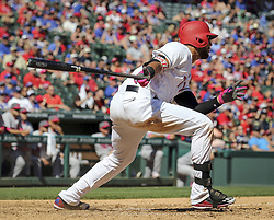 May 14, 2017 - Arlington, TX, USA - Texas Rangers right fielder Nomar Mazara (30) hits a single in the seventh inning that scored Elvis Andrus to take the lead against the Oakland Athletics on Sunday, May 14, 2017 at Globe Life Park in Arlington, Texas. (Credit Image: © Richard W. Rodriguez/TNS via ZUMA Wire)