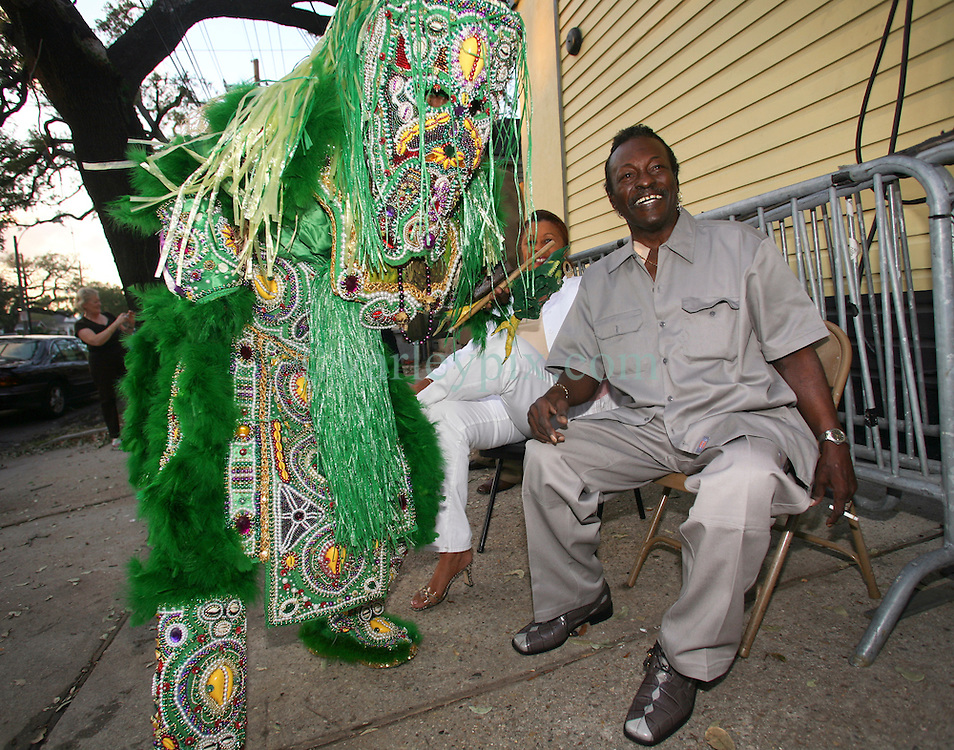 """01 May 2006. New Orleans, Louisiana. <br /> Mardi Gras Indian, Spirit of Fi Yi Yi tribe Victor Harris  meets with Big Chief Theodore """"Bo"""" Dollis of the Wild Magnolias outside Tipitina's. Harris appeared for the annual 'Instruments A Comin' spectacle, hosted by the Tipitina's Foundation, a charity set up in the city to stimulate the recovery of New Orleans musical heritage.<br /> <br /> Big Chief Theodore """"Bo"""" Dollis, who led the Wild Magnolia tribe of Mardi Gras Indians in performances around the world passed away January 20th, 2015. He was 71.<br /> Photo; Charlie Varley/varleypix.com"""