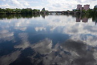 Cloud reflectioons on the Connecticut River and Bulkeley Bridge from Greater Hartford Jaycees Boathouse, Hartford, CT
